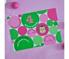 Monkey Polka Dot Printable Invitation - Pink Green