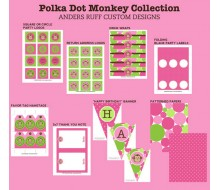 Monkey Polka Dot Birthday Party Printable Collection - Pink Green