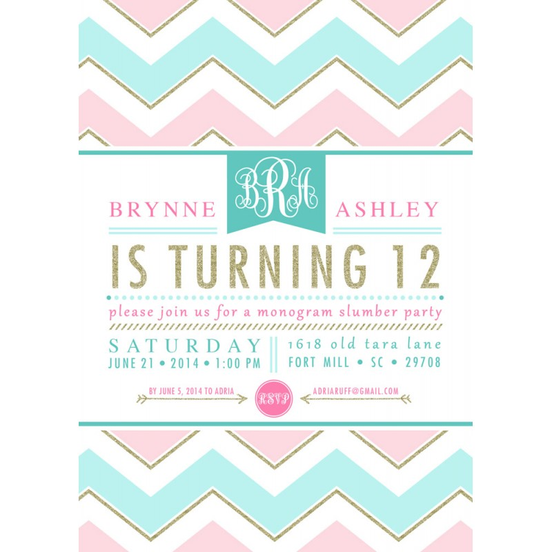 Monogram Slumber Birthday Party Chevron Gold Glitter