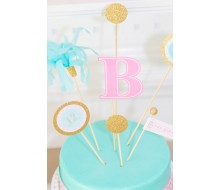 Monogram Slumber Birthday Party Printable Customized Cake Topper Set