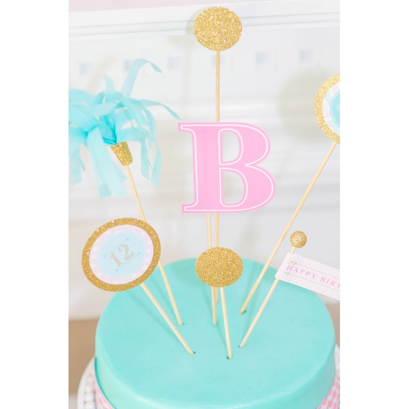 graphic regarding Printable Cake Toppers named Monogram Snooze Birthday Get together Printable Personalized Cake