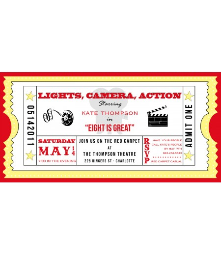 Movie Ticket Cinema Drive-In Birthday Party Printable Invitation