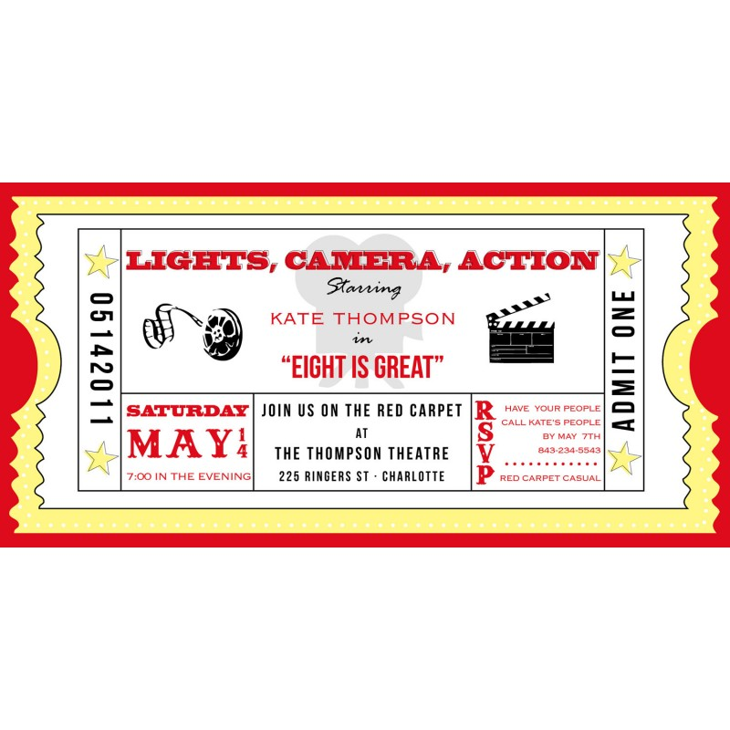 Ticket Cinema Drive-In Birthday Party Printable Invitation