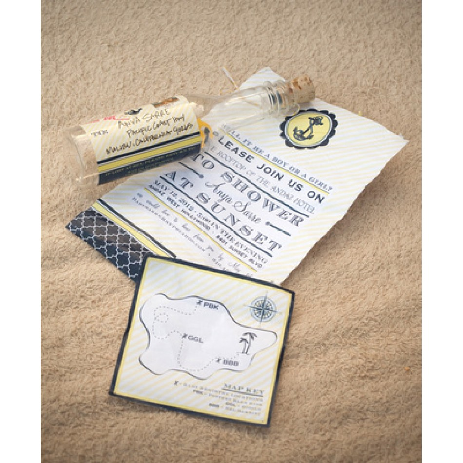 nautical baby shower or party invitation navy and yellow