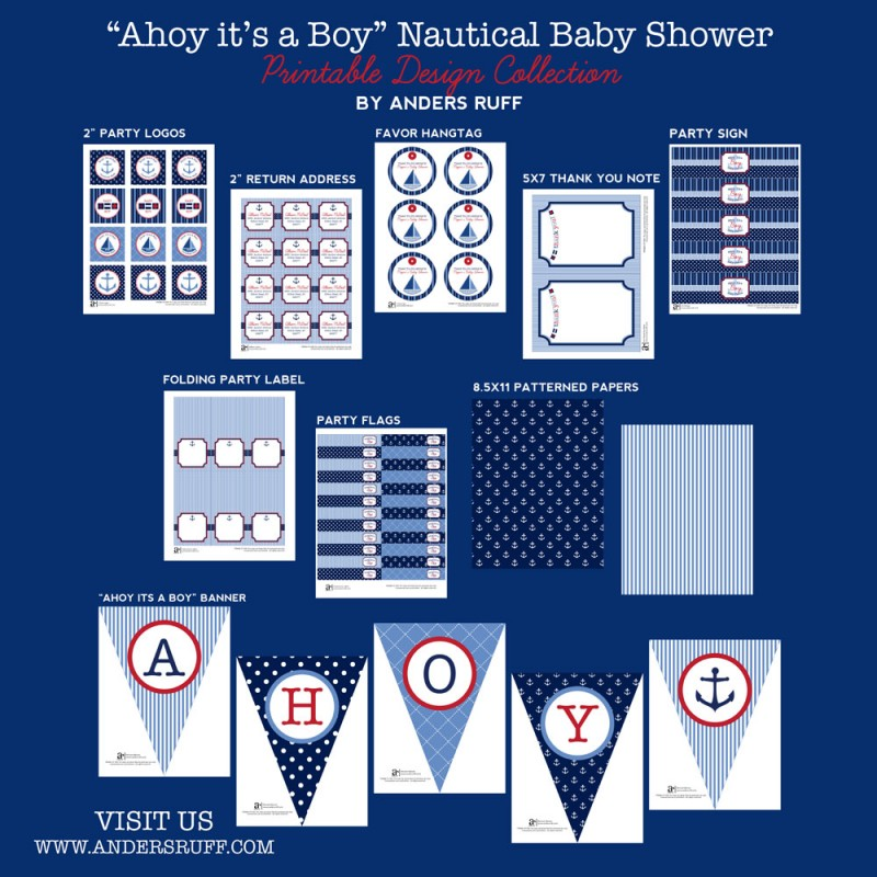 picture about Nautical Baby Shower Invitations Printable called Ahoy Its A Boy Nautical Kid Shower Printables Variety