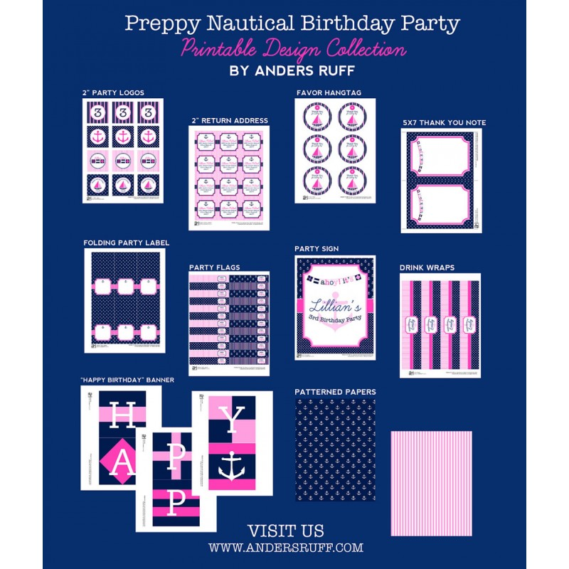 Nautical Preppy Birthday Party Printables Collection - Navy and Pink