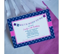 Nautical Preppy Girl Birthday Party Invitation - Navy and Pink