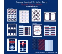 Nautical Preppy Birthday Party Printables Collection - Navy and Red