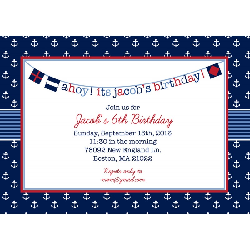 Nautical Preppy Boy Birthday Party Invitation - Navy and Red
