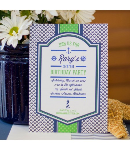 Nautical Party Printable Invitation - Navy and Green