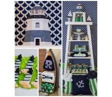 Nautical Birthday Party or Baby Shower Printables Collection - Navy and Green
