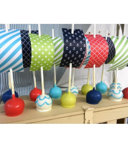 Nautical Patterned Papers Set (Great to use for Cake Pop Sails as shown) - Instant Download