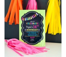 Neon Chalkboard Tassle Birthday Party Printable Invitation