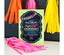 Neon Chalkboard Tassle Birthday Party Printable Invitation