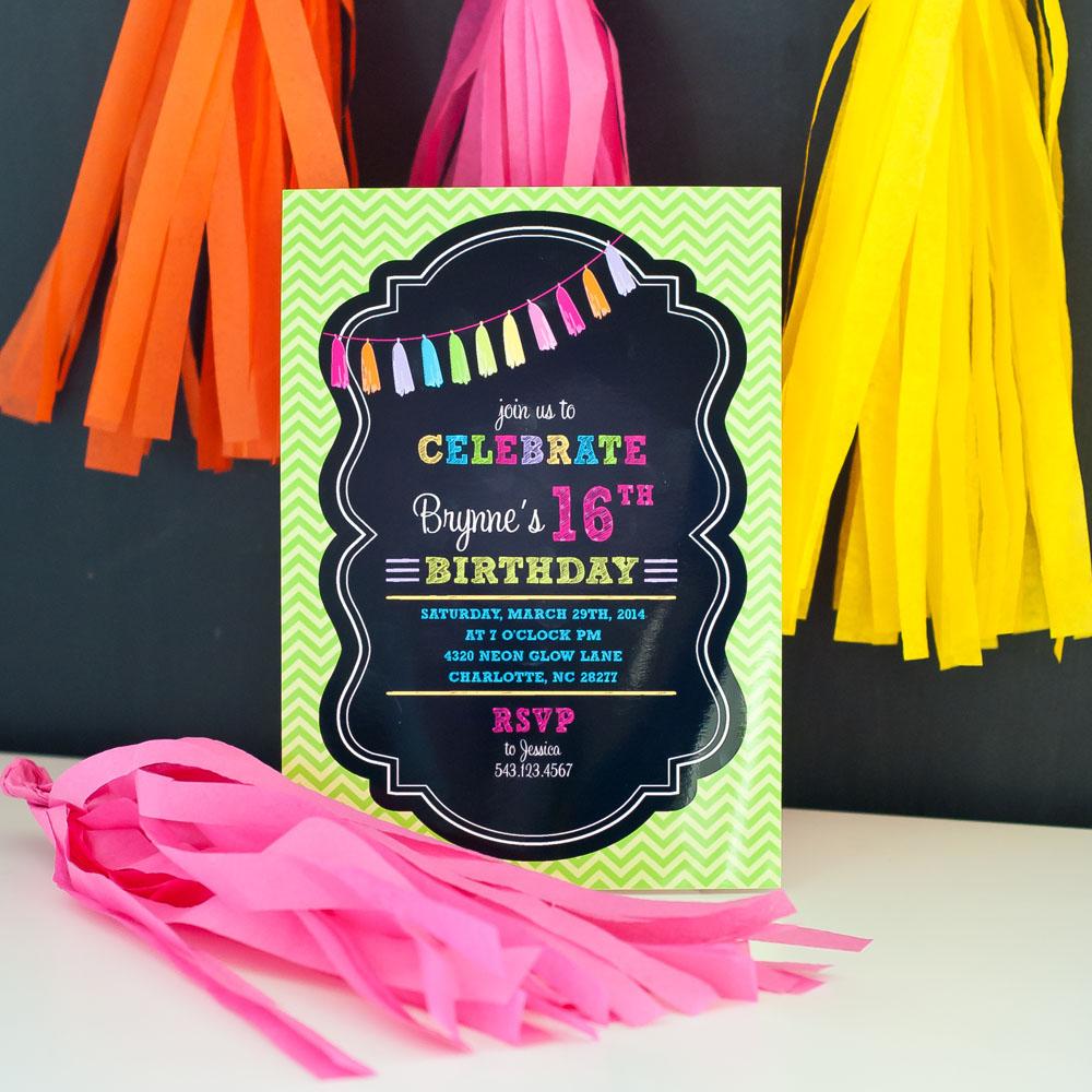 Chalkboard Tassle Birthday Party Printable Invitation – Tween Birthday Party Invitations