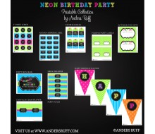 Neon Chalkboard Tassle Birthday Party Printables Collection