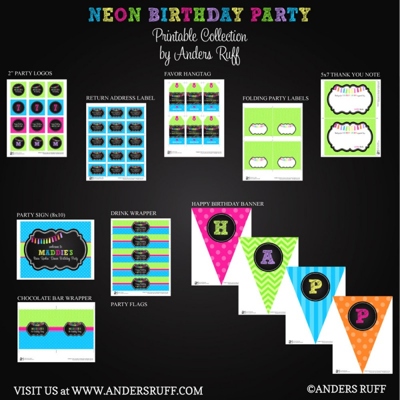 Chalkboard Tassle Birthday Party Printables Collection