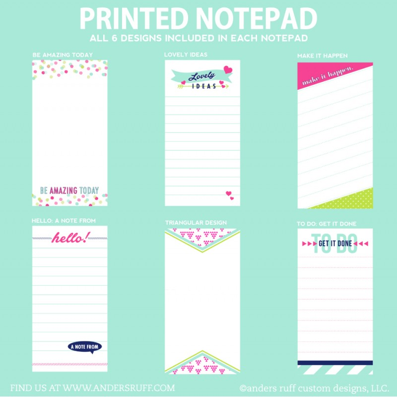 Printed Notepads - To Do List, Lovely Ideas, A Note From, Grocery ...