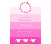 Ombre Princess Whimsical Birthday Party Printable Invitation