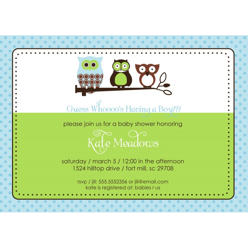 Owl Baby Shower Or Birthday Party Printable Invitation