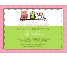 Owl Baby Shower or Birthday Party Printable Invitation - Pink