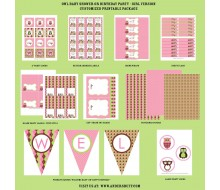 Owl Baby Shower or Birthday Party Printables Collection - Pink