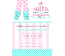 Pancakes and Pajamas Slumber Birthday Party Sleepover Teen Tween Printable Invitation