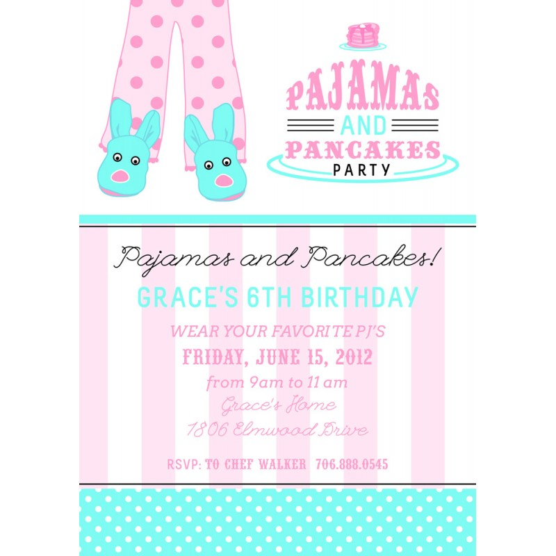 and Pajamas Slumber Birthday Party Sleepover Teen Tween Printable – Pancake Party Invitations