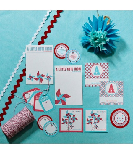Personalized Printable Stationery and Gift Packaging - Pinwheels Collection