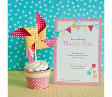 Pinwheels, Pennants and Polka Dots Birthday Party Printable Invitation