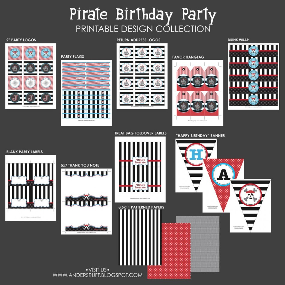 pirate birthday party printables collection
