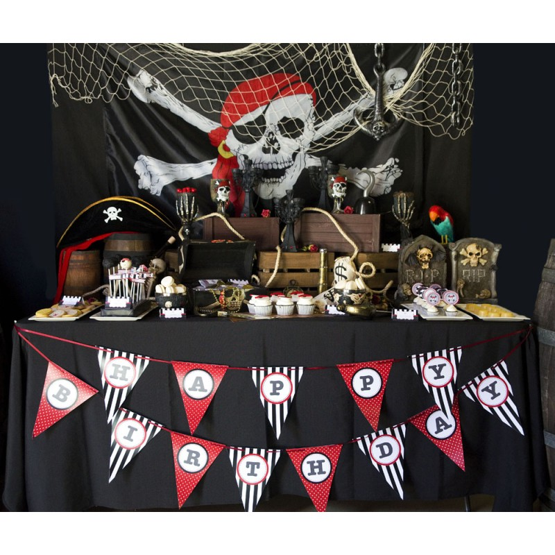 photo about Pirate Party Printable known as Pirate Birthday Get together Printables Choice - Black, Pink and