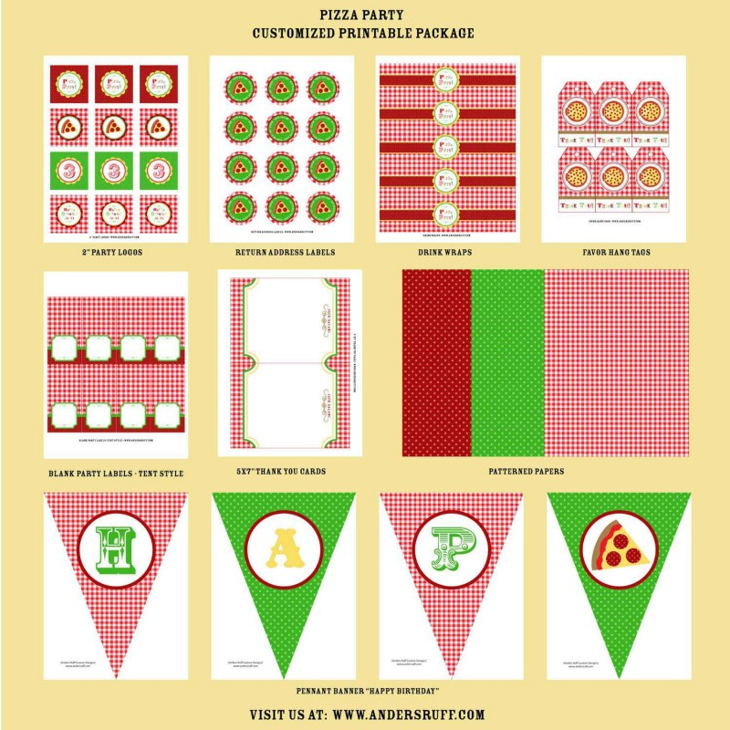 pizza party celebration birthday party printable collection