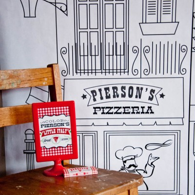 """Pizzeria Pizza Party Printable Coloring Poster - 36"""" x 144"""""""
