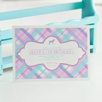 Plaid Preppy Puppy Printable Party Invitation - Pink, Aqua and Lilac