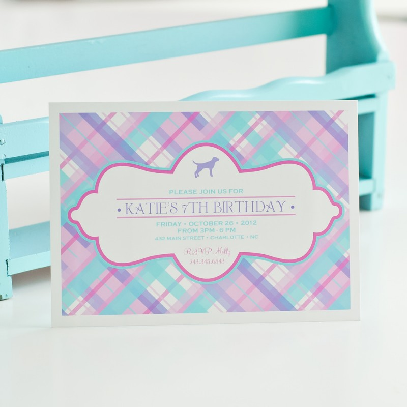 Plaid Preppy Puppy Printable Party Invitation