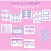 Plaid Preppy Puppy Dog Birthday Party Printables Collection - Aqua Pink and Lilac