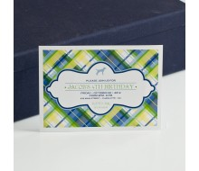 Plaid Preppy Puppy Printable Party Invitation - Navy and Greens