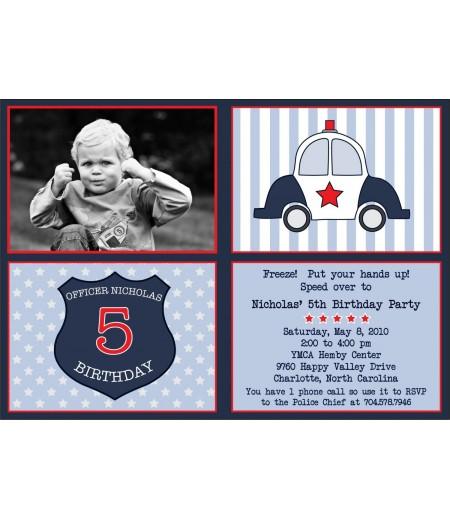 Police Car Officer Birthday Party Invitation