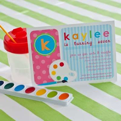 Polka dot arts and crafts birthday party printable invitation for Arts and crafts party