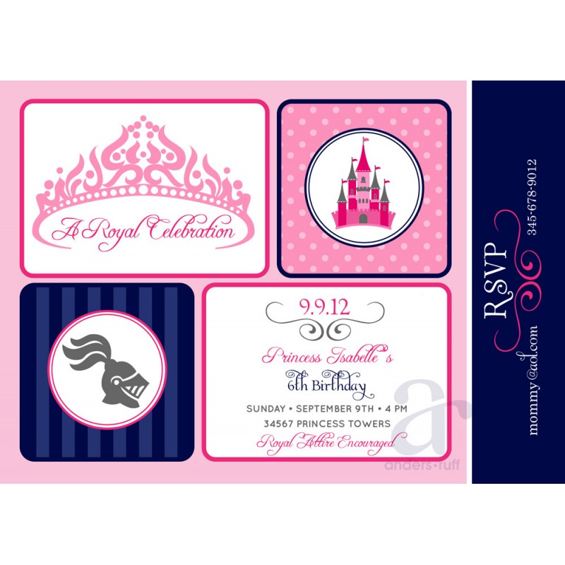 and Knights Birthday Party Printable Invitation – Princess and Knight Party Invitations