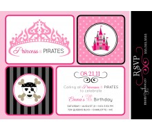 Princesses and Pirates Birthday Party Printable Invitation - Black Grey and Pink