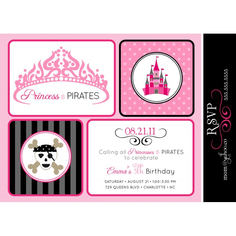 Princesses and Pirates Birthday Party Printable Invitation - Black ...