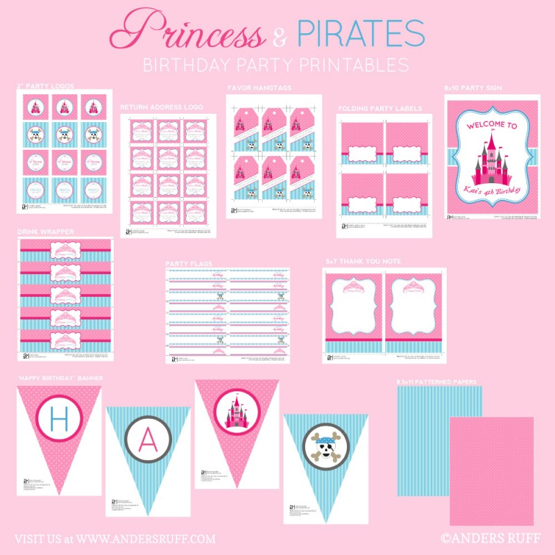 Princess and Pirates Birthday Party Printables Collection