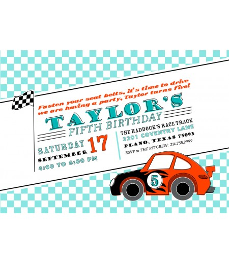 Race Car Speedster Roadster Birthday Party Printable Invitation