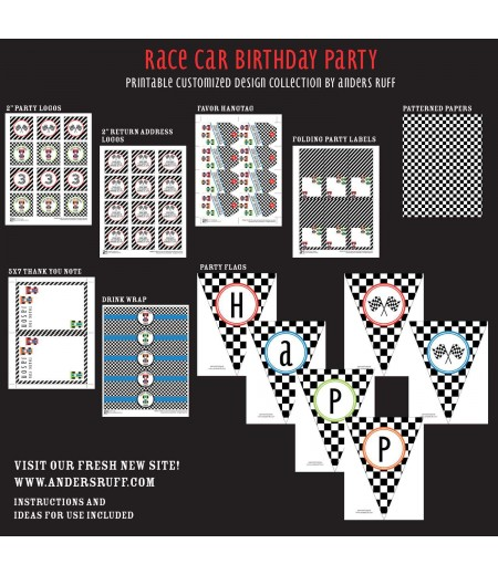 Race Car Birthday Party Printable Collection