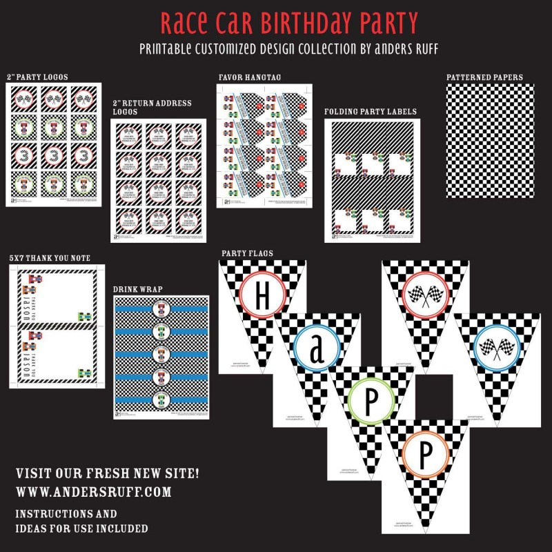 car birthday party printable collection, Powerpoint templates
