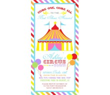 Rainbow Carnival Circus Birthday Party Printable Invitation