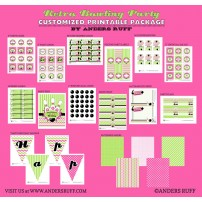 Retro Girl Bowling Birthday Party Printable Collection - Pink Green