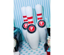 Retro Bowling Party Customized Printable Initial or Age Logos